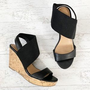 American Eagle Black Elastic Wedge Shoes